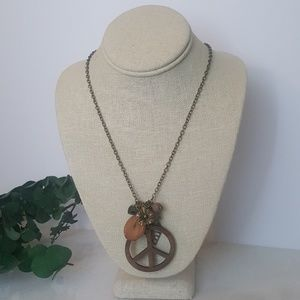 Jewelry - Bronze Hippie Peace Cluster Pendant Necklace